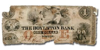 1854 $1 Boylston Bank of Boston, MA-120 Contemporary Counterfeit