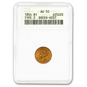 1854 $1 Indian Head Gold Type 2 AU-50 ANACS