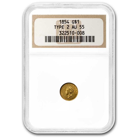 1854 $1 Indian Head Gold Type-2 AU-55 NGC