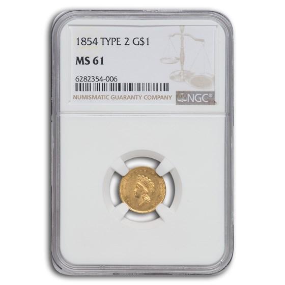 1854 $1 Indian Head Gold Type-II MS-61 NGC