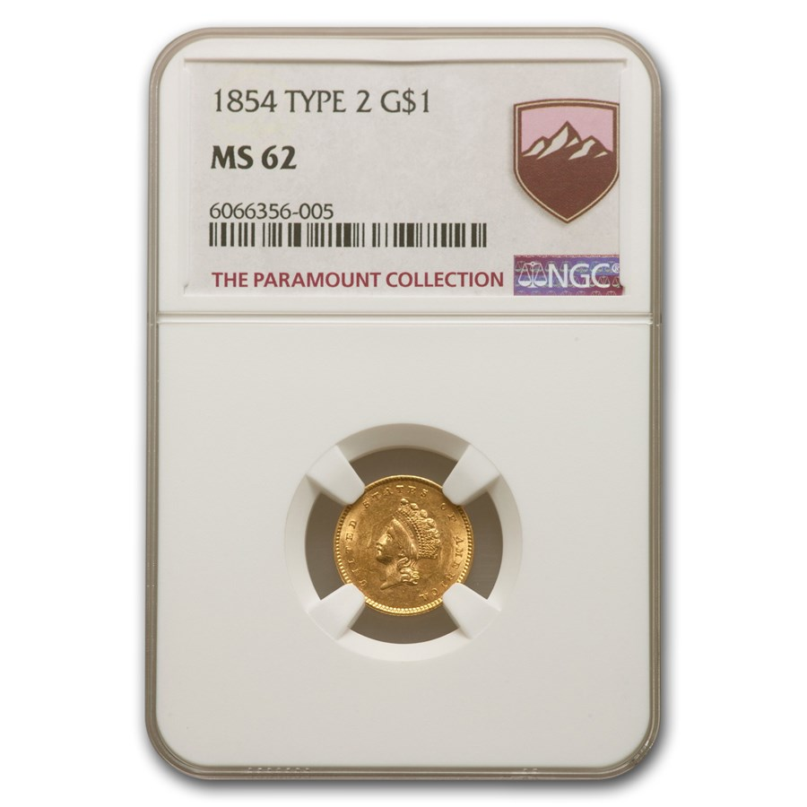 1854 $1 Indian Head Gold Type-II MS-62 NGC