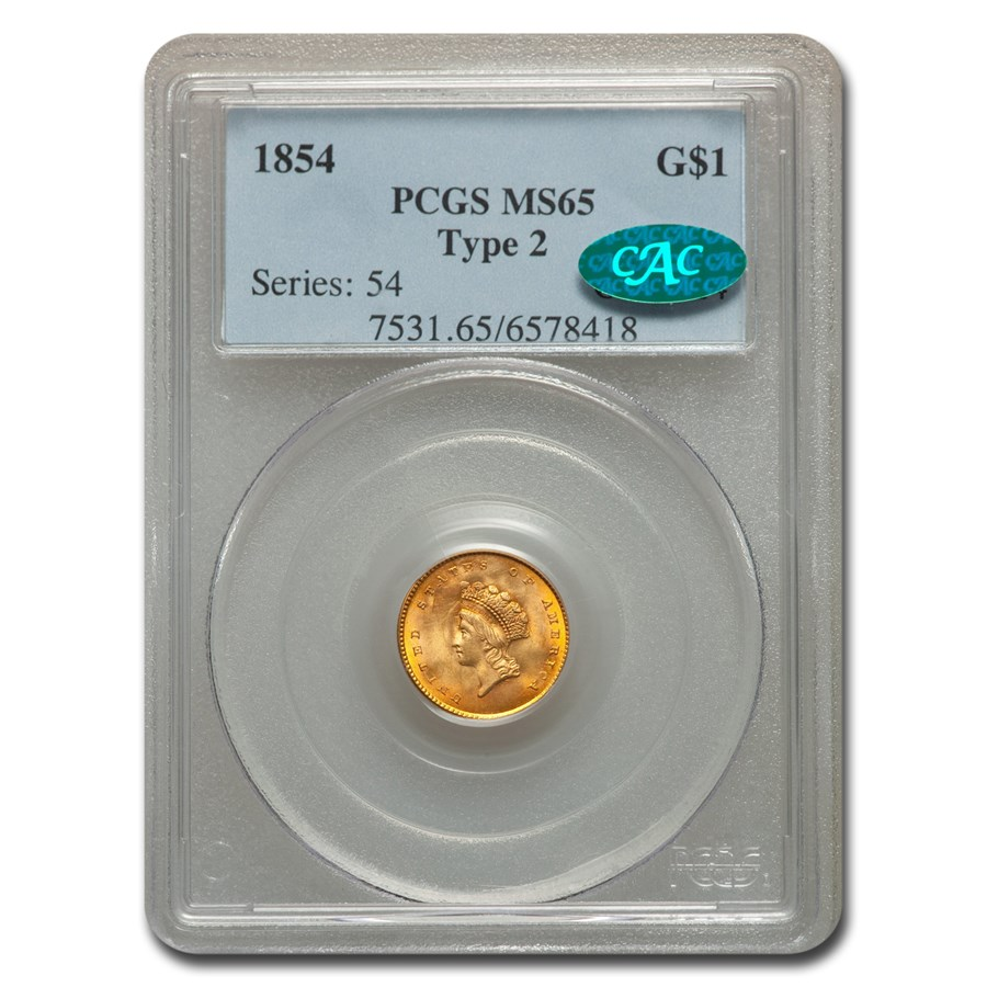 1854 $1 Indian Head Gold Type-II MS-65 PCGS CAC
