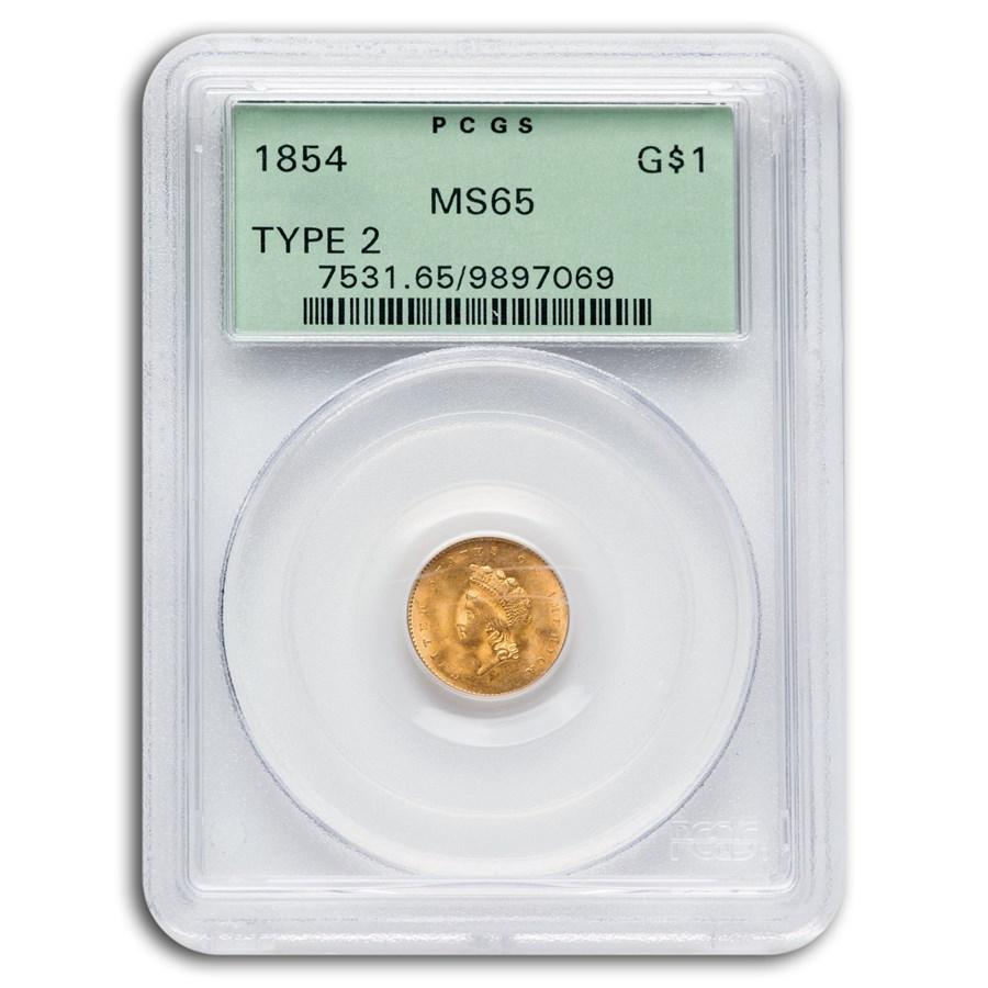 1854 $1 Indian Head Gold Type-II MS-65 PCGS