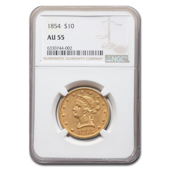 1854 $10 Liberty Gold Eagle AU-55 NGC
