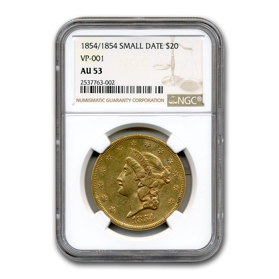 1854/1854 $20 Liberty Gold Double Eagle AU-53 NGC ( Small Date)