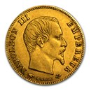 1854-1860 France Gold 5 Francs Napoleon III (Avg Circ)