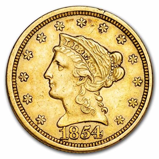 1854 $2.50 Liberty Gold Quarter Eagle AU