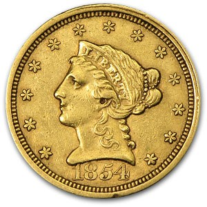 1854 $2.50 Liberty Gold Quarter Eagle XF
