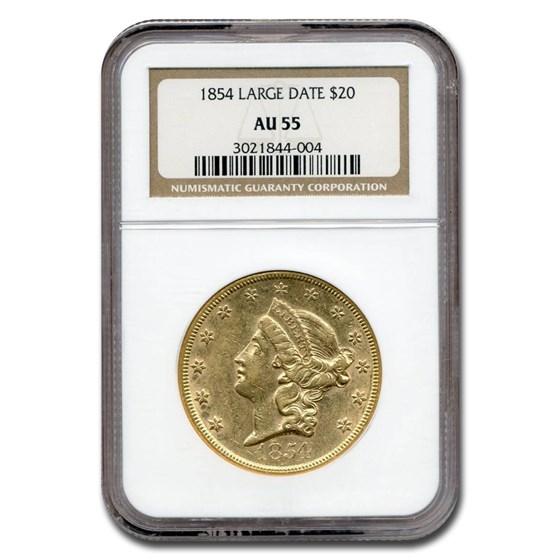 1854 $20 Liberty Gold Double Eagle AU-55 NGC (Large Date)