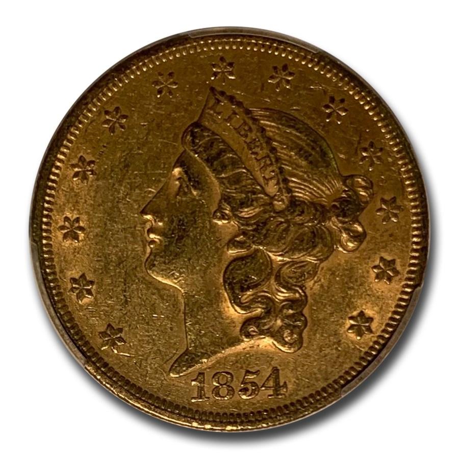 1854 $20 Liberty Gold Double Eagle AU-55 PCGS (Small Date)