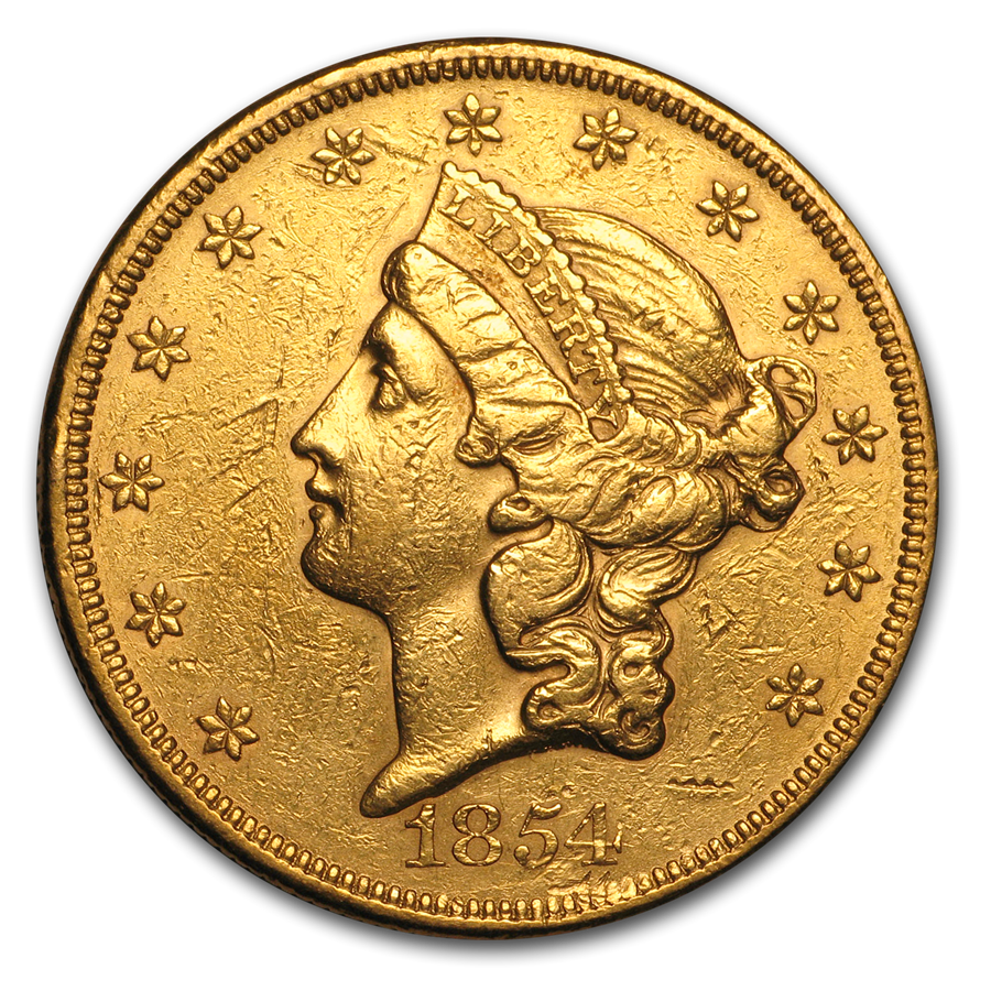 1854 $20 Liberty Gold Double Eagle Lg Date XF Details (Cleaned)