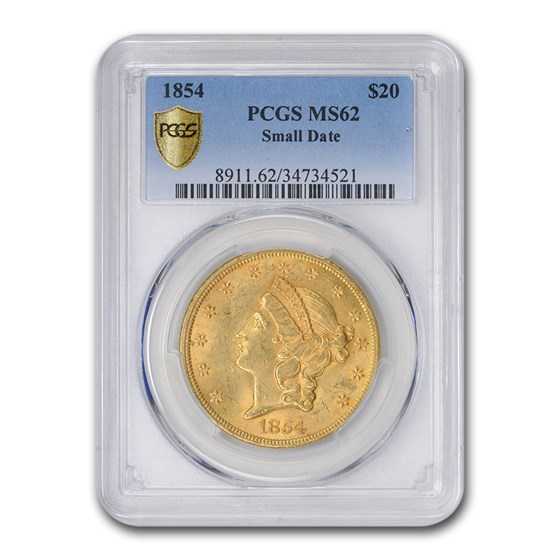 1854 $20 Liberty Gold Double Eagle MS-62 PCGS (Small Date)