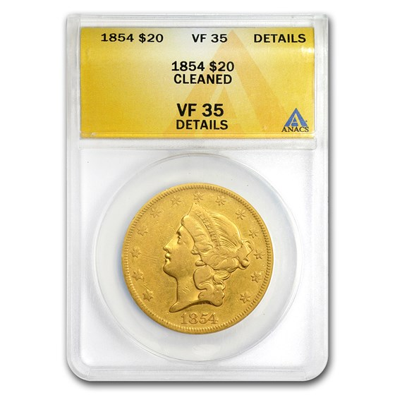 1854 $20 Liberty Gold Double Eagle Type 1 VF Details (Cleaned)