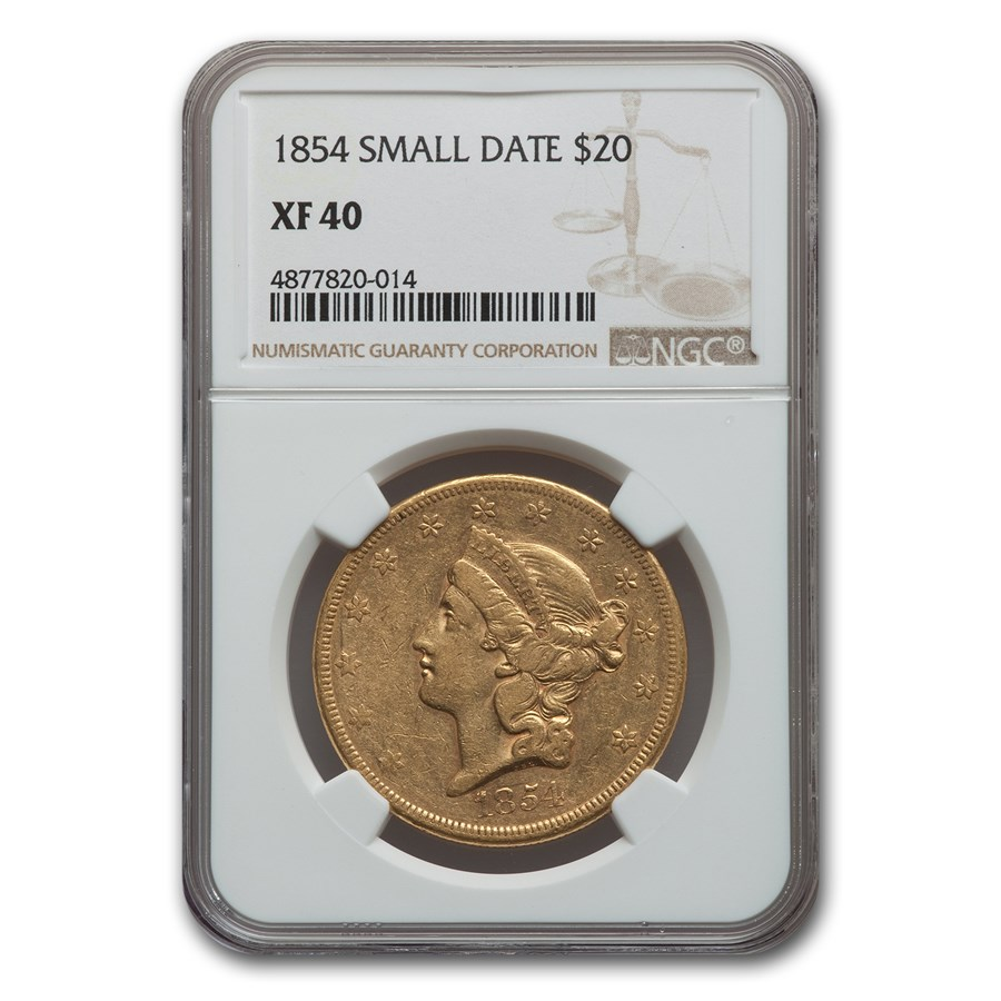 1854 $20 Liberty Gold Double Eagle XF-40 NGC (Small Date)