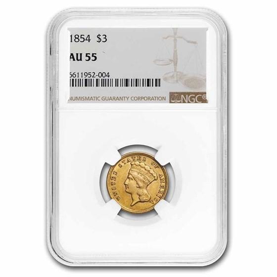 1854 $3 Gold Princess AU-55 NGC