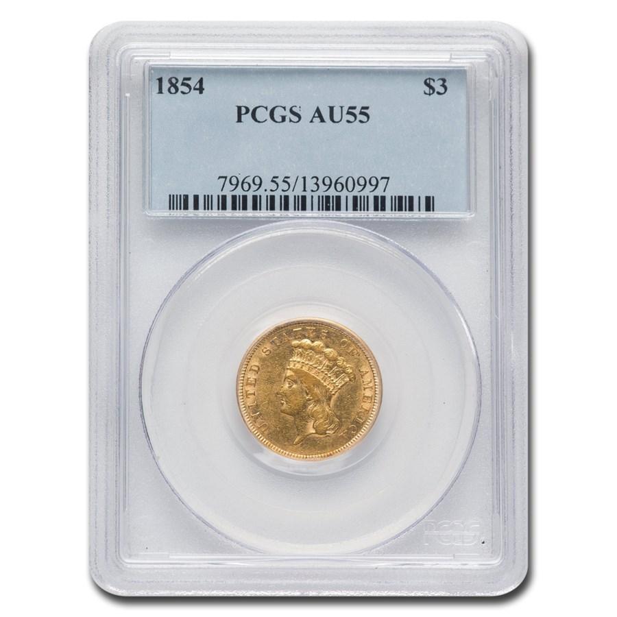 1854 $3 Gold Princess AU-55 PCGS
