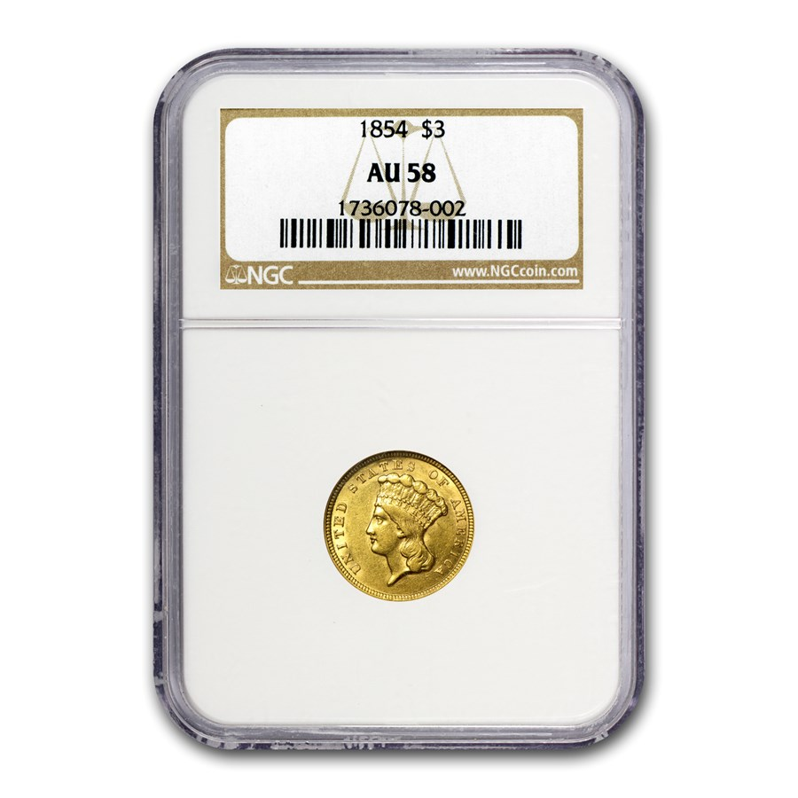 1854 $3 Gold Princess AU-58 NGC