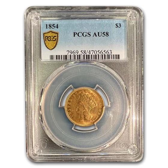 1854 $3 Gold Princess AU-58 PCGS