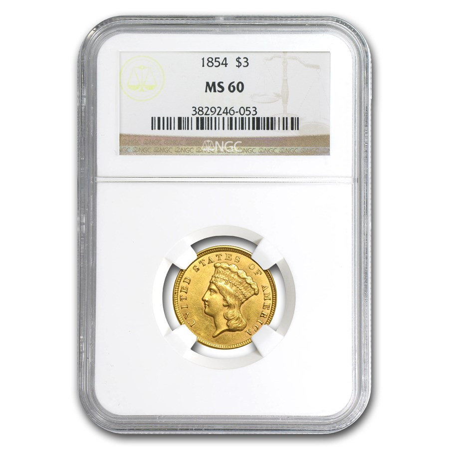 1854 $3 Gold Princess MS-60 NGC