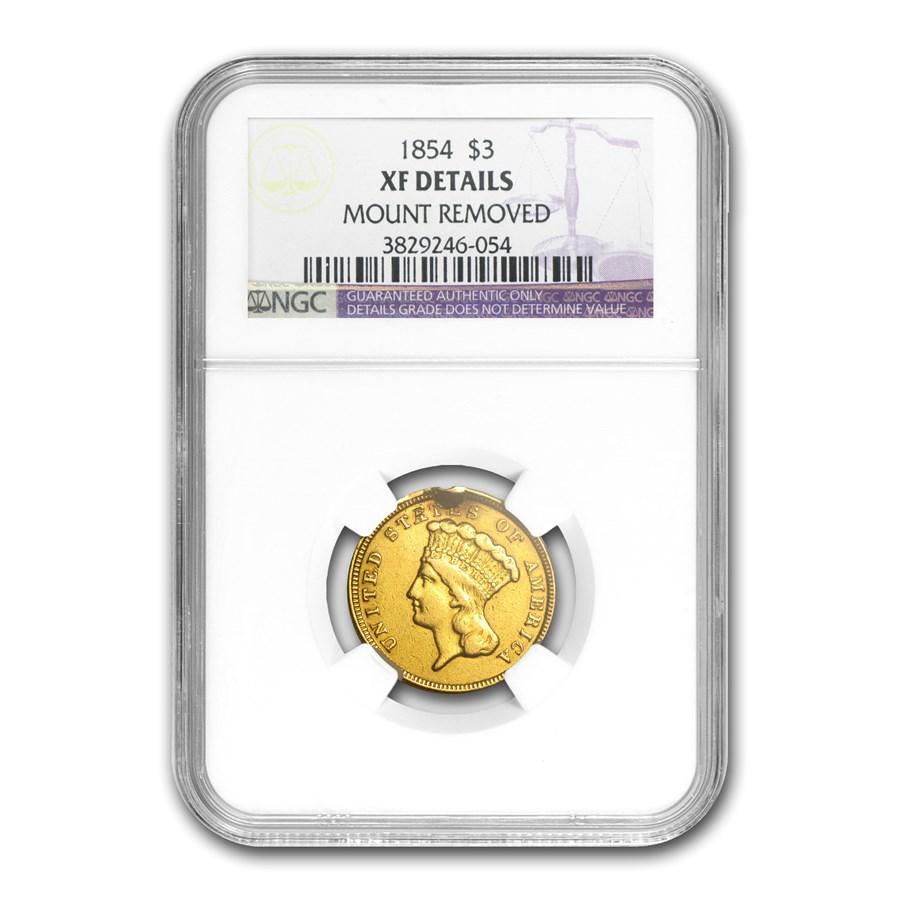 1854 $3 Gold Princess XF Details NGC (Plugged)