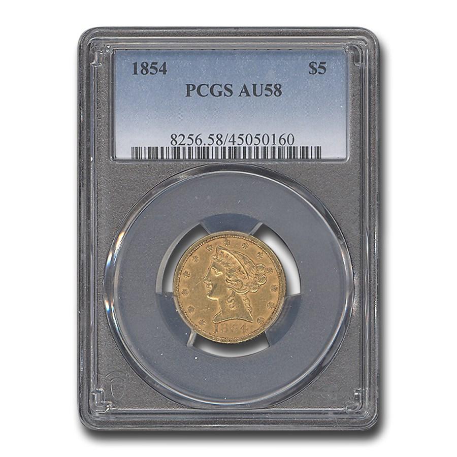 1854 $5 Liberty Gold Half Eagle AU-58 PCGS
