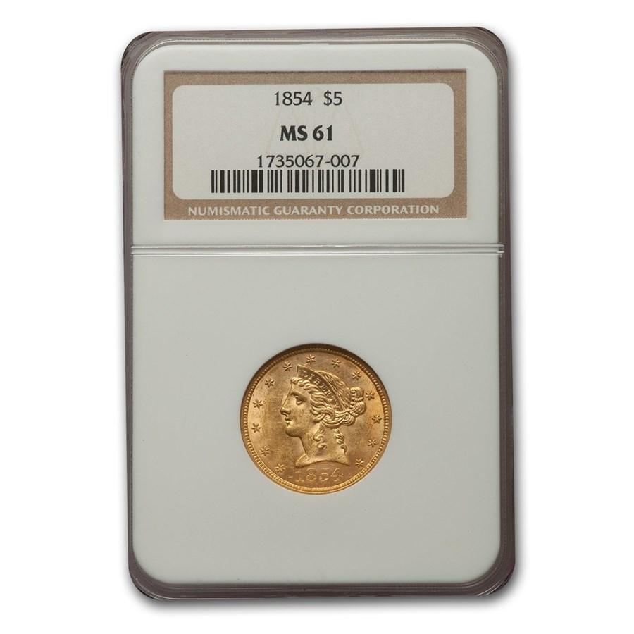1854 $5 Liberty Gold Half Eagle MS-61 NGC
