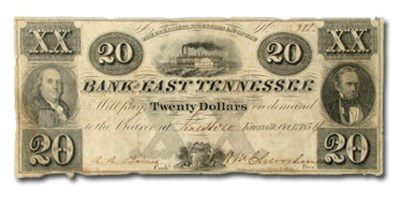 1854 Bank of East Tennessee, Knoxville $20.00 Note TN-55 VF
