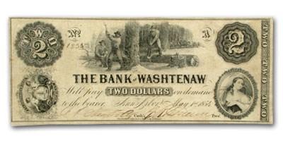 1854 Bank of Washtenaw, MI $2 MI-50, VF