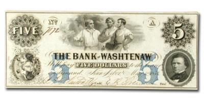 1854 Bank of Washtenaw, MI $5 MI-50, AU