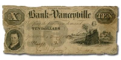 1854 Bank of Yanceyville, NC $10 NC-105 VG