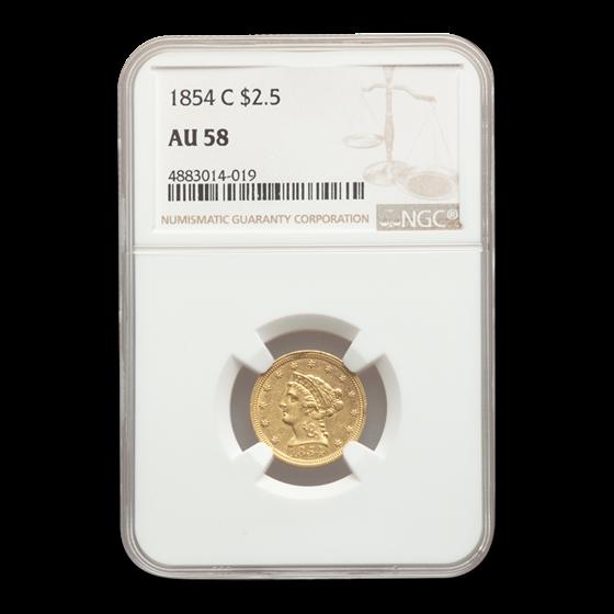 1854-C $2.50 Liberty Gold Quarter Eagle AU-58 NGC