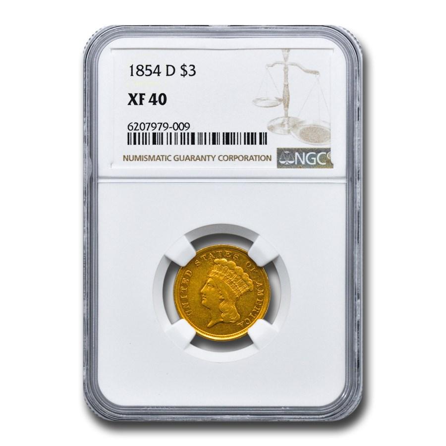 1854-D $3 Gold Princess XF-40 NGC