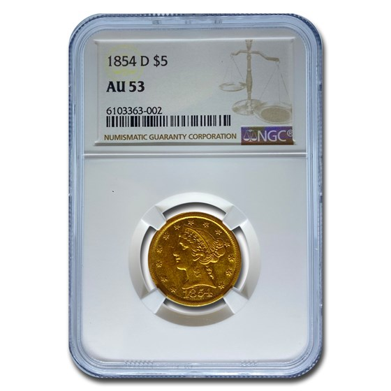 1854-D $5 Liberty Gold Half Eagle AU-53 NGC