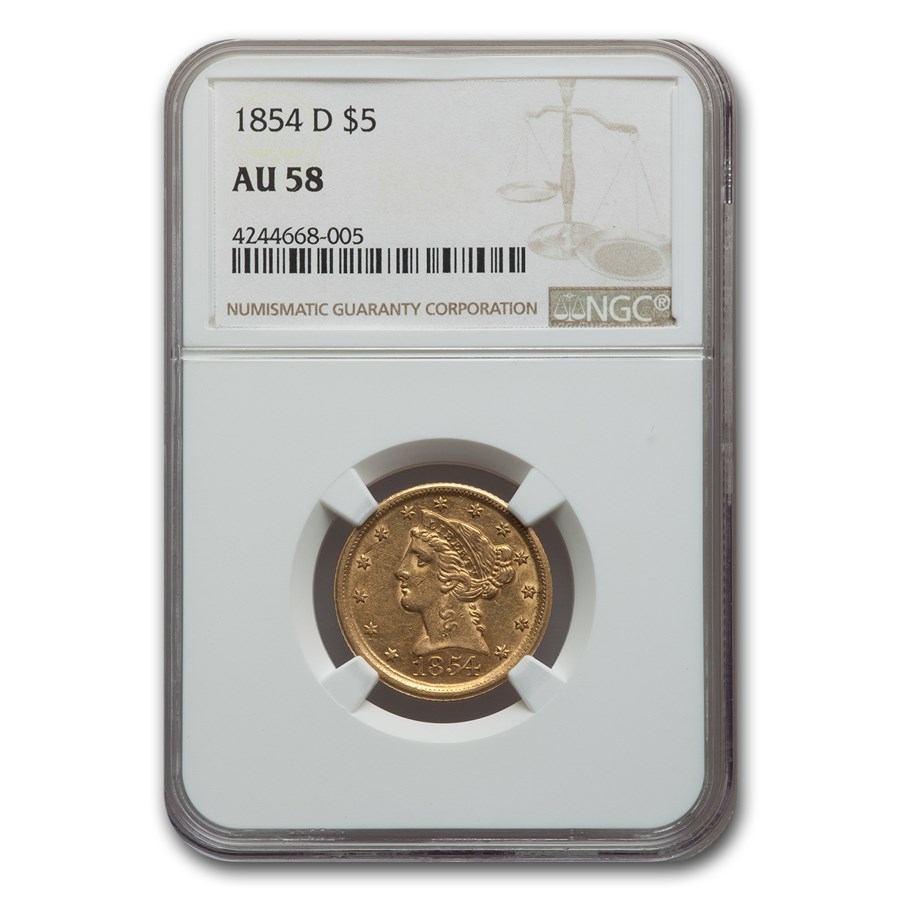 1854-D $5 Liberty Gold Half Eagle AU-58 NGC