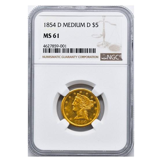 1854-D $5 Liberty Gold Half Eagle MS-61 NGC (Medium D)