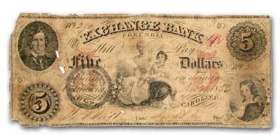 1854 Exchange Bank of Columbia, South Carolina $5.00 SC-75 Fine