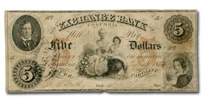 1854 Exchange Bank of Columbia, South Carolina $5.00 SC-75 VF