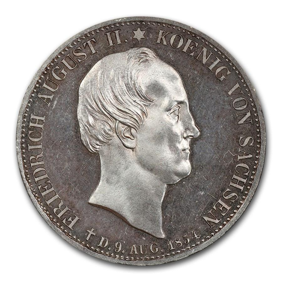 1854 German State Saxony-Albertine Silver 2 Thaler PR-64 CAM PCGS