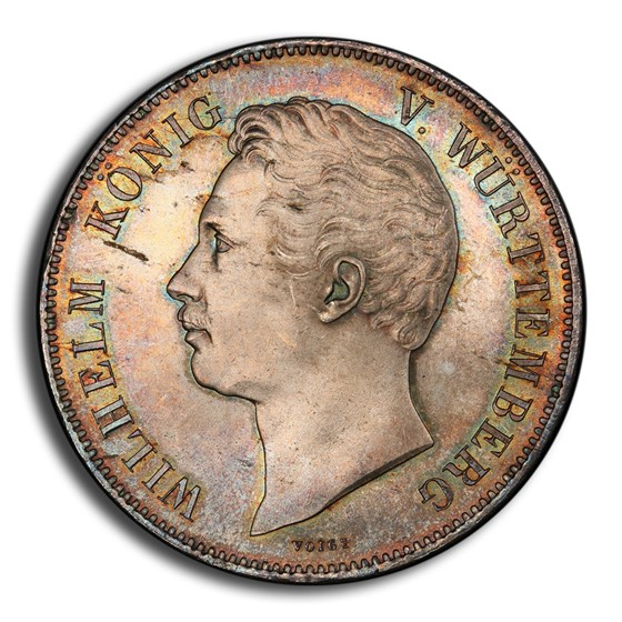 1854 German States Wurttemberg 2 Thaler 3-1/2 Gulden MS-66PCGS