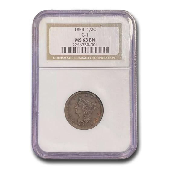 1854 Half Cent MS-63 NGC (Brown)
