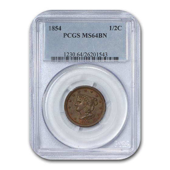 1854 Half Cent MS-64 PCGS (Brown)
