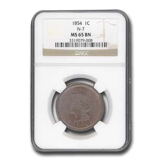 1854 Large Cent MS-65 NGC (Brown, N-7)