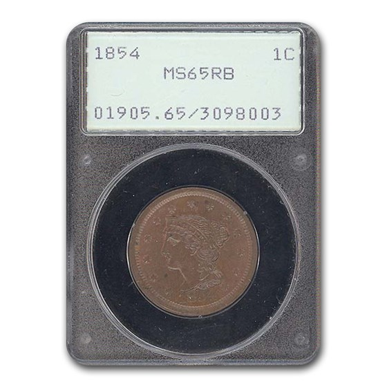 1854 Large Cent MS-65 PCGS (Red/Brown)