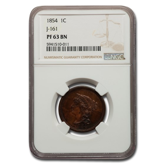 1854 Large Cent Pattern PF-63 NGC (Brown, J-161)
