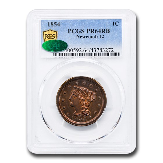 1854 Large Cent PR-64 PCGS CAC (Red/Brown, Newcomb 12)