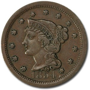 1854 Large Cent XF