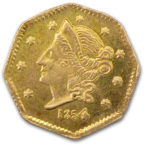 1854 Liberty Octagonal 50 Cent Gold MS-62 (BG-305)