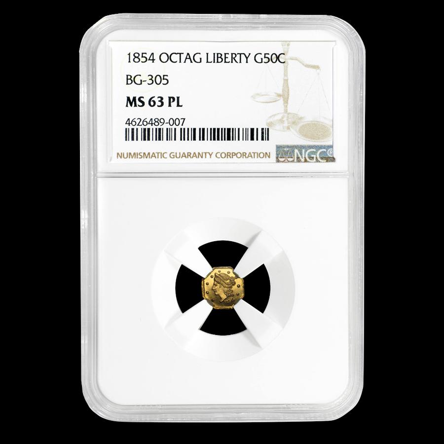 1854 Liberty Octagonal 50¢ Gold NGC MS-63 PL (BG-305)
