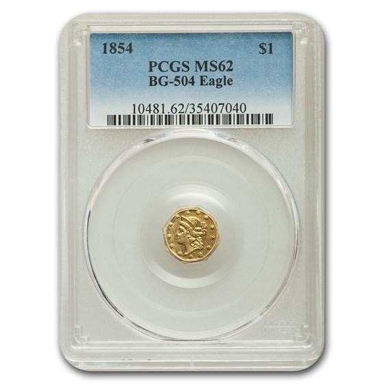 1854 Liberty Octagonal One Dollar Gold MS-62 PCGS (BG-504 Eagle)