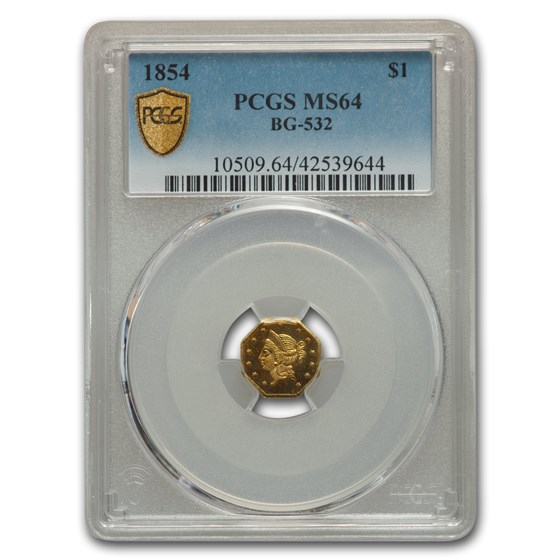 1854 Liberty Octagonal One Dollar Gold MS-64 PCGS (BG-532)